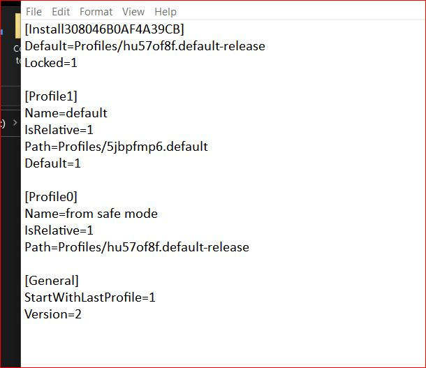 After A Firefox update, Firefox willl only open in Windows Safe Mode-profiles.ini.jpg