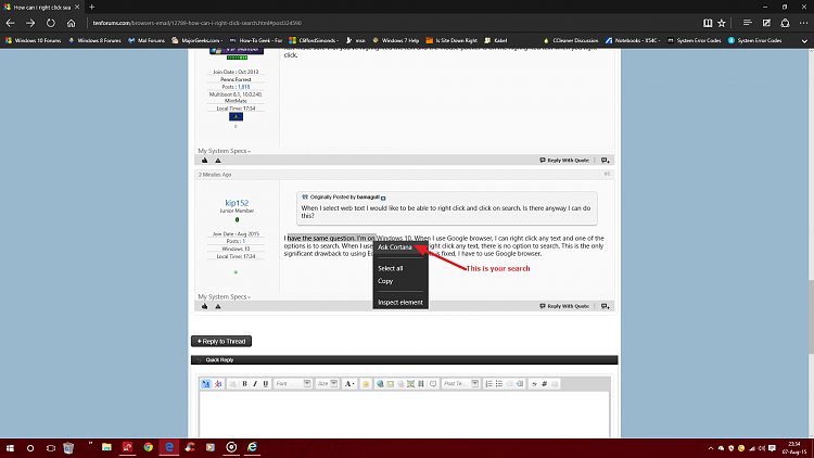 How can i right click search? Solved - Windows 10 Forums