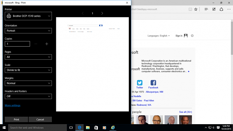 Image result for How to print from Edge for Windows 10