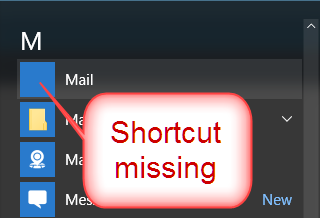 Click image for larger version.  Name:Mail shortcut missing.png Views:9 Size:12.5 KB ID:49330