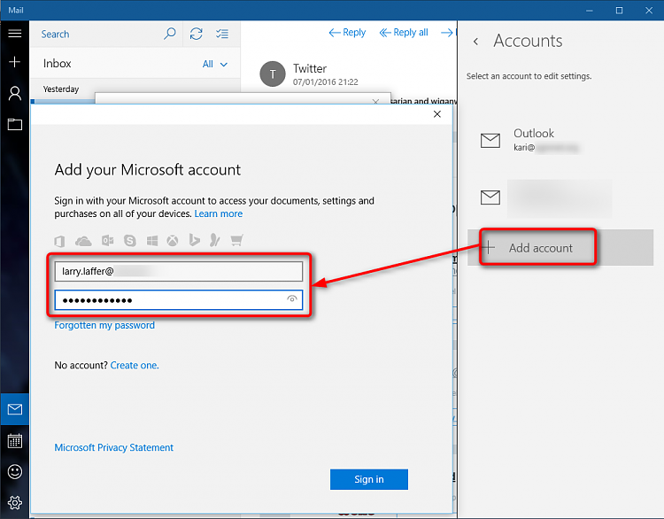 how to move my email account to windows 10