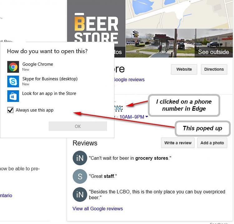 Telephone numbers showing as links in Microsoft Edge Browser-beer-store.jpg
