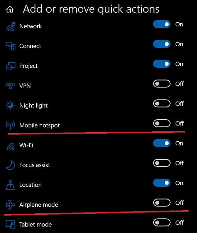 Remove Airplane Mode And Mobile Hotspot From Wifi Menu Windows 10 Forums