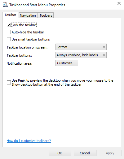 Click image for larger version.  Name:No 'Customize' in Taskbar Properties.png Views:115 Size:17.4 KB ID:22155