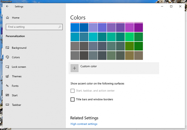 I cannot select start, taskbar, & action center in color
