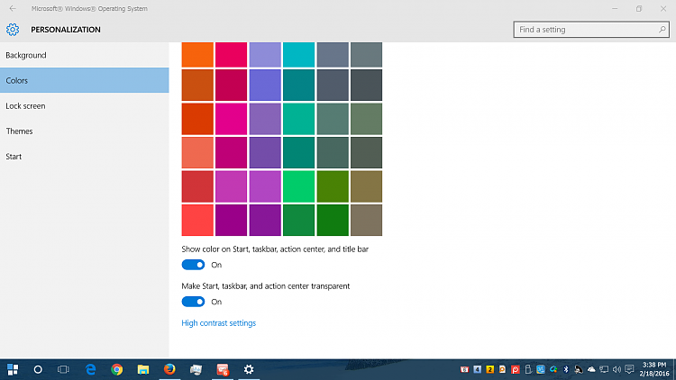 how do i change the background color for the taskbar