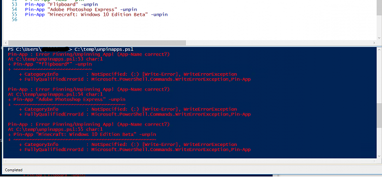 How to automatically (cmd/powershell script) unpin all apps