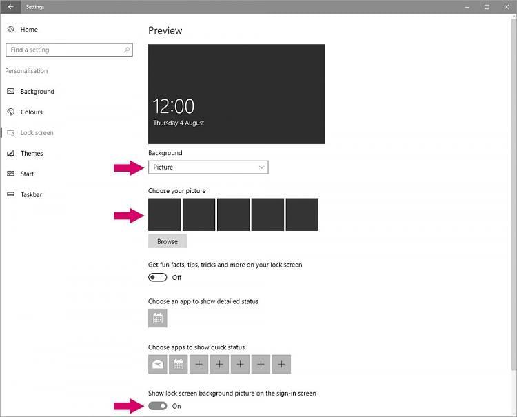 w10 logon screen changer