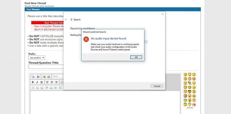 No audio input device found - Windows 10 Forums