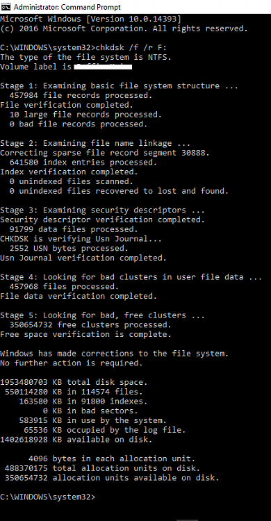Click image for larger version.  Name:chkdsk r f  Finish.PNG Views:2 Size:46.4 KB ID:109447