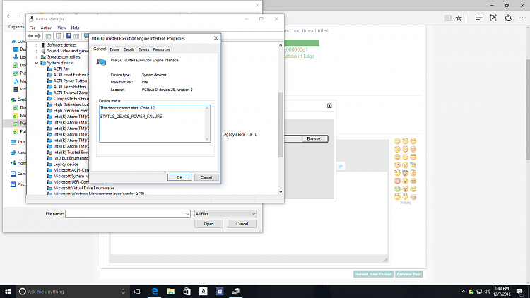 драйвер intel к trusted execution engine interface