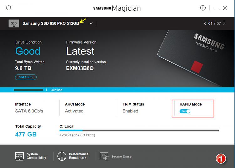 Click image for larger version.  Name:Samsung Magician v5.0-Screenshots-01-31012017 073420.png Views:4 Size:239.2 KB ID:119184