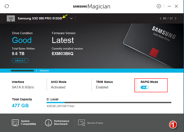 Click image for larger version.  Name:Samsung Magician v5.0-Screenshots-01-31012017 073420.png Views:5 Size:239.2 KB ID:119184