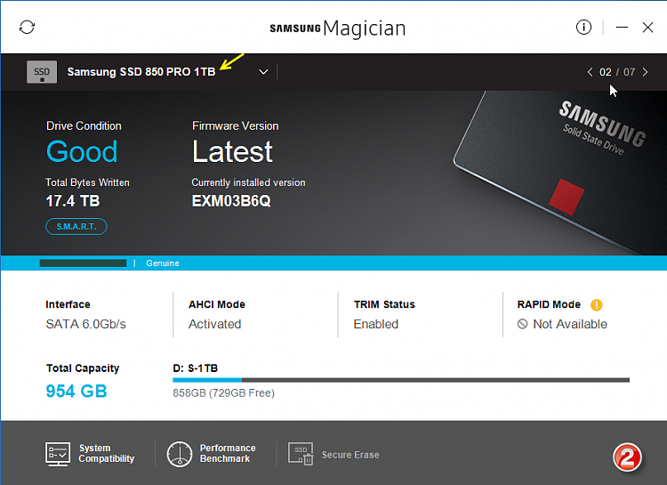 Click image for larger version.  Name:Samsung Magician v5.0-Screenshots-02-31012017 073558.png Views:5 Size:238.2 KB ID:119185