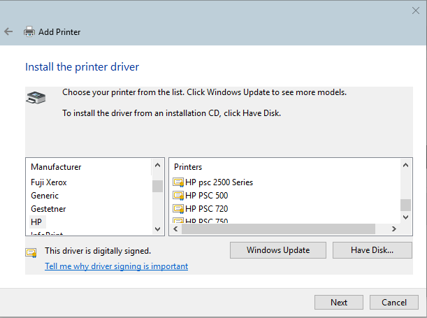 I Can't Install an old USB HP PSC printer to my Win 10 Dell