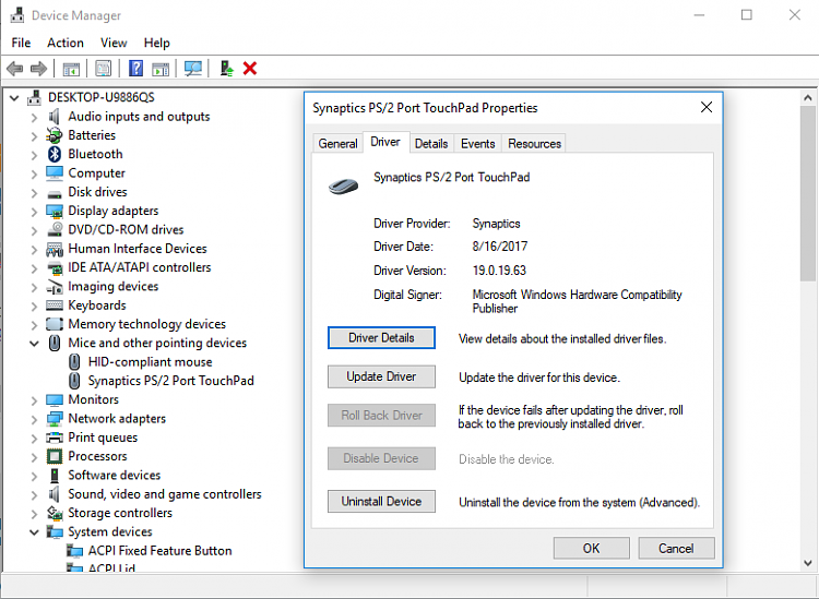 Synaptics Driver Doesn't Work On Windows 10 Pro - Windows 10
