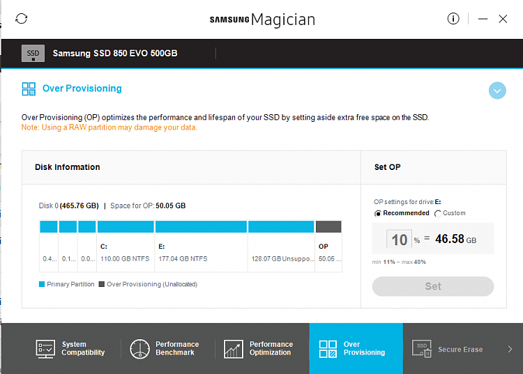 Over Provisioning on Samsung SSD (Magician) - Windows 10 Forums