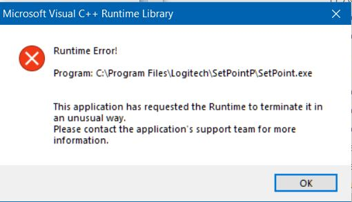 Logitech Setpoint Runtime Error Fix - Windows 10 Forums