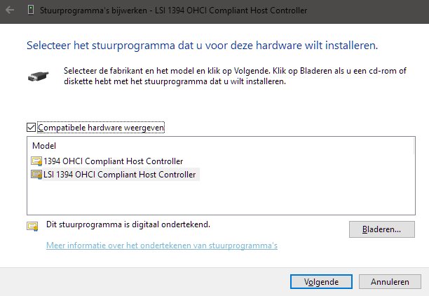 LSI 1394 OHCI Compliant Host Controller Solved - Windows 10
