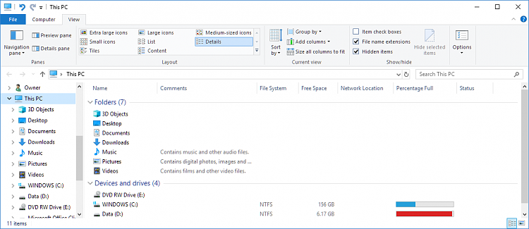 Click image for larger version.  Name:explorer 'This PC' view.PNG Views:4 Size:51.3 KB ID:179784