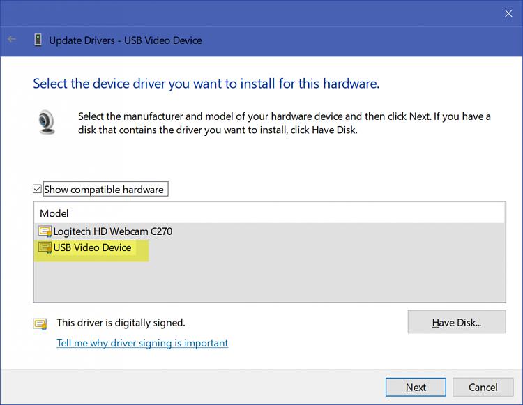 Logitech Webcam C930e Driver issue (code 19) on Win 10 LTSB