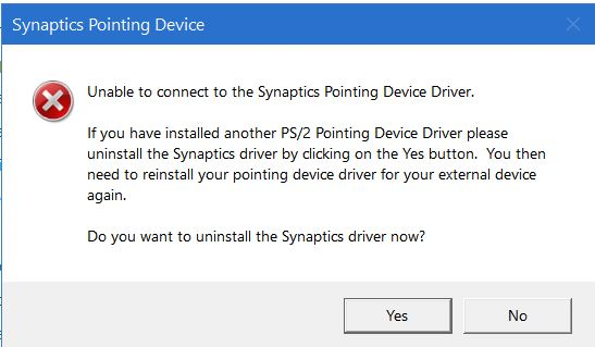 Synaptics problem - Windows 10 Forums