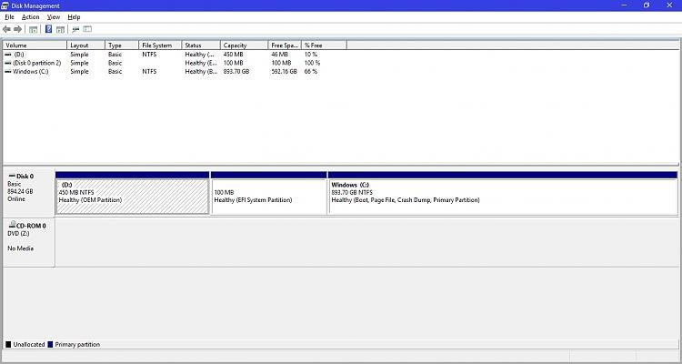 Updated to 1803 via Windows Update - now D: OEM partition is showing