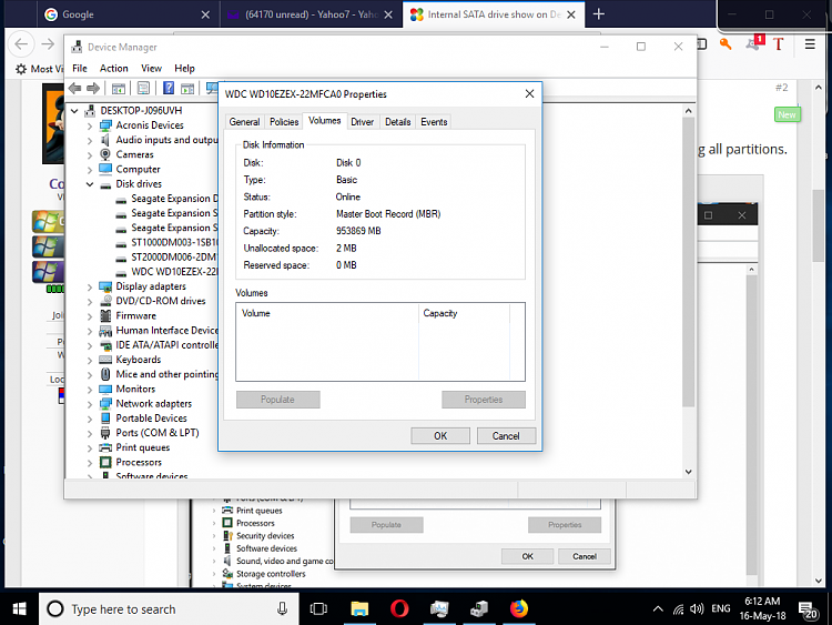 Internal SATA drive show on Device Manager But not on