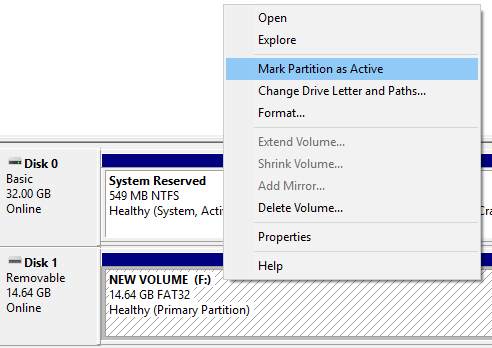 Why is Mark Partition Active Greyed out in Disk Management? Solved