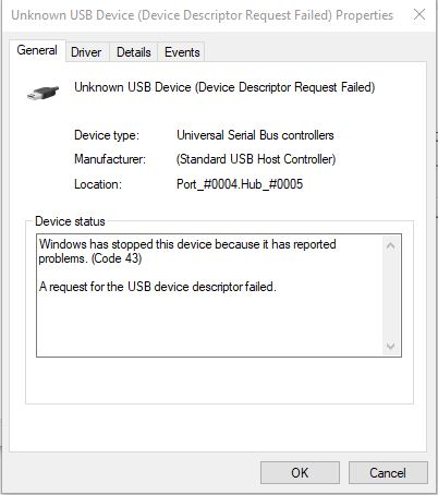 Unknown USB Device (Device Descriptor Request Failed) Solved