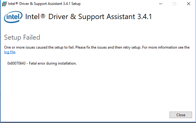 Intel Driver & Support Assistant Update Failure Solved - Windows 10