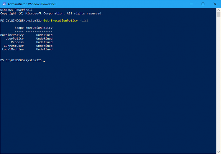 PowerShell script for CPU information, incl. CPUID-default-exec.policy.png