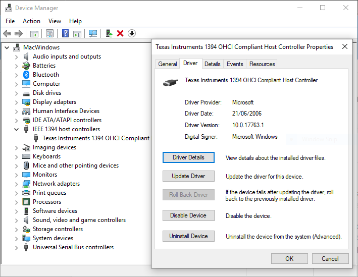 Is Firewire  IEEE 1394  still supported by Windows 10 ?-capture.png