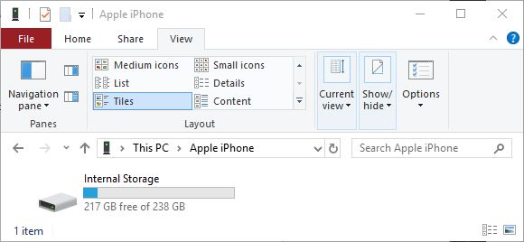 how to see iphone in windows explorer