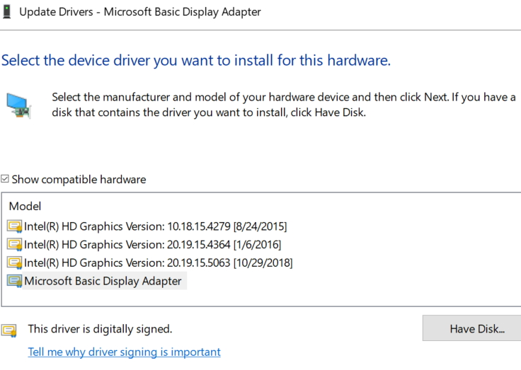 microsoft basic display adapter driver for windows 8.1