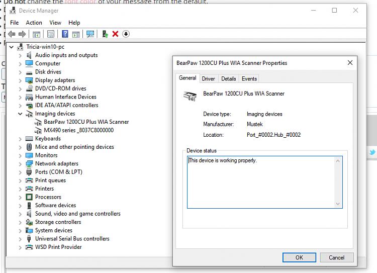 Mustek BearPaw scanner 1200CU, got it working in windows 10