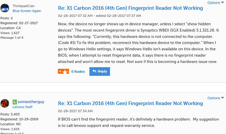 Lenovo X380 Fingerprint reader showing