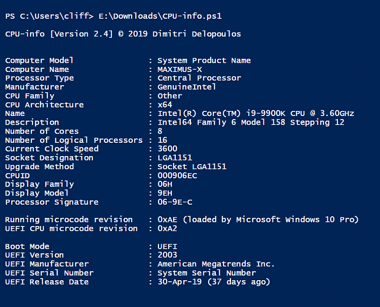 PowerShell script for CPU information, incl. CPUID Solved ...