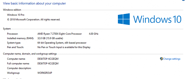Hardware Reserved Ram 32Gb installed 16Gb In Use - Windows