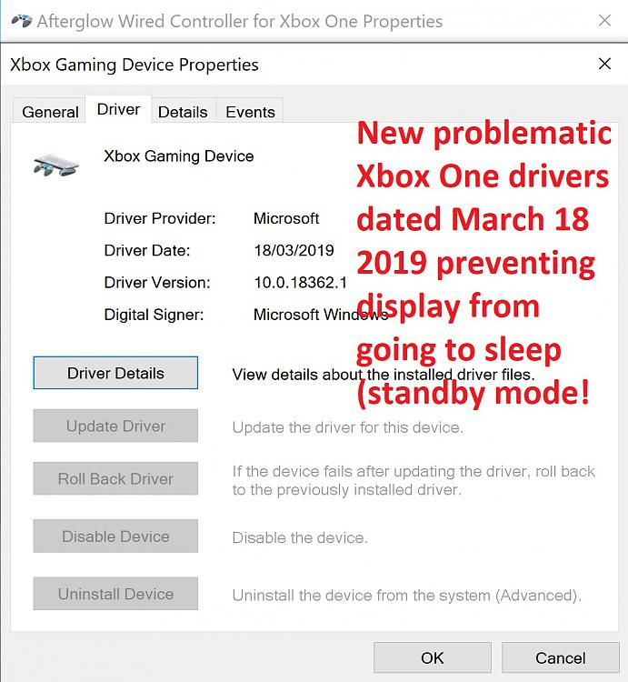 Xbox One Controller preventing monitor from going to standby