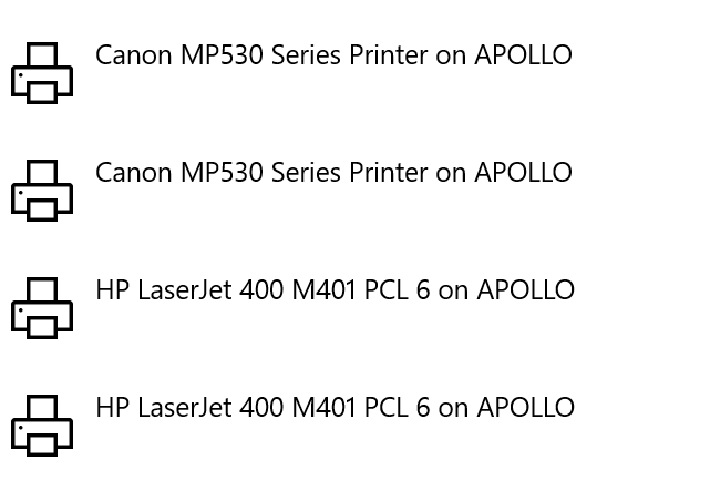 "Installing a network printer with ""Connect"" creates double entries-Set-printers.png"