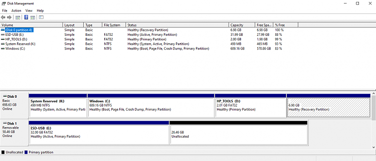 Options to recover a RAW recovery partition or create a new one-ten-forums-disk-management-3-17-2020.png