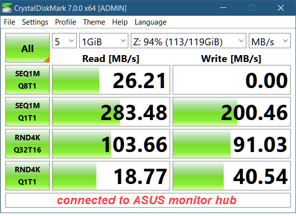 Why is the SSD enclosure benchmarking so low thru the monitor hub?-128gb-ssd-enclosure-connected-monitor-hub.jpg