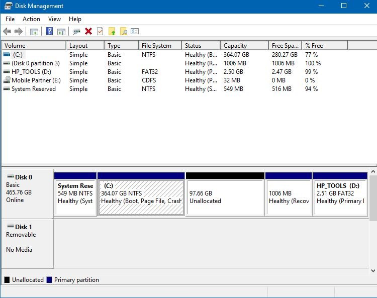 Cannot change unallocated space into partition with drive letter-disk-management-1.jpg