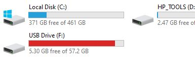 """New SanDisk with SecureAccess shows a  red bar in """"this PC""""-sandisk-g2-after-deleting-files.jpg"""