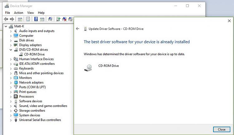 pc not reading cd windows 10