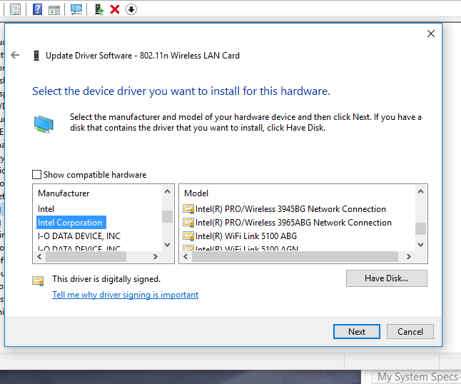 INTEL 3945ABG WINDOWS 8 DRIVER