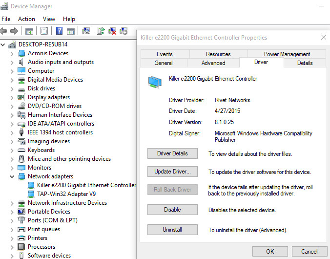 Must reinstall Ethernet Adapter Driver after every restart - Windows