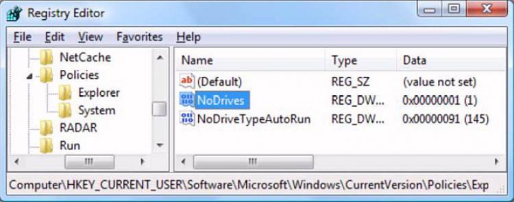 Click image for larger version.  Name:Hide drives Registry.jpg Views:1 Size:49.6 KB ID:44915