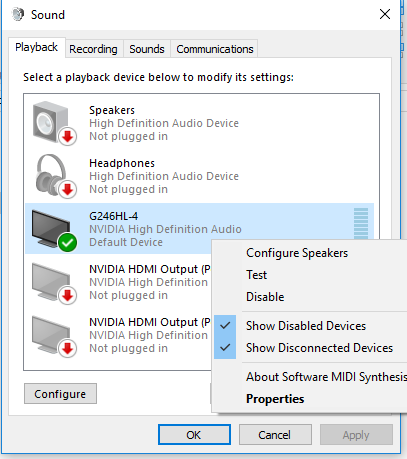 hdmi audio doesnt work on windows 10